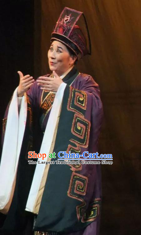Chinese Ancient Qin Dynasty Prime Minister Zhao Gao Purple Hanfu Costumes and Hat Complete Set