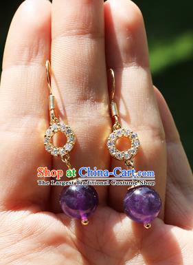 Chinese Traditional Hanfu Purple Bead Ear Accessories Ancient Qing Dynasty Princess Earrings for Women