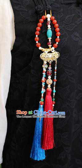 Chinese Ancient Ming Dynasty Imperial Consort Tassel Brooch Pendant Traditional Hanfu Court Accessories for Women