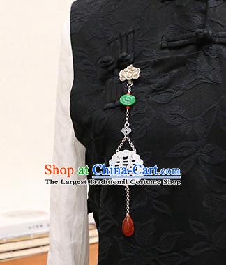 Chinese Ancient Qing Dynasty Imperial Consort Jade Carving Brooch Pendant Traditional Hanfu Court Accessories for Women