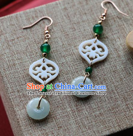 Chinese Traditional Hanfu Court Jade Ear Accessories Ancient Qing Dynasty Princess Earrings for Women