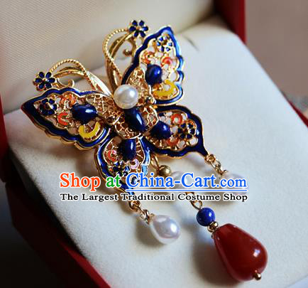 Chinese Qing Dynasty Cloisonne Butterfly Brooch Pendant Traditional Hanfu Ancient Imperial Consort Accessories for Women