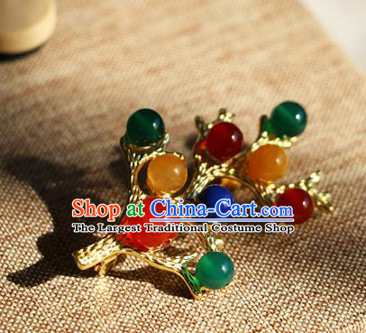 Chinese Qing Dynasty Colorful Beads Brooch Pendant Traditional Hanfu Ancient Imperial Consort Accessories for Women
