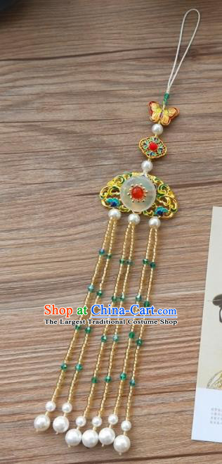 Chinese Qing Dynasty Cloisonne Golden Tassel Brooch Pendant Traditional Hanfu Ancient Imperial Consort Accessories for Women