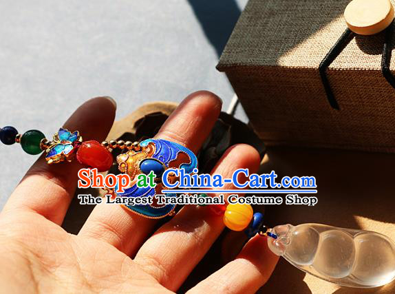 Chinese Qing Dynasty Cloisonne Bat Jade Brooch Pendant Traditional Hanfu Ancient Imperial Consort Accessories for Women