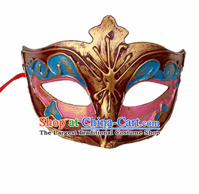 Handmade Venice Carnival Pink Fox Mask Halloween Cosplay Fancy Ball Face Masks Accessories for Men