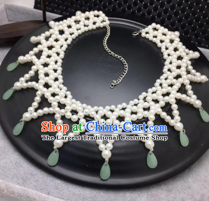 Chinese Traditional Hanfu Jewelry Accessories Ancient Tang Dynasty Princess Pearls Necklace for Women