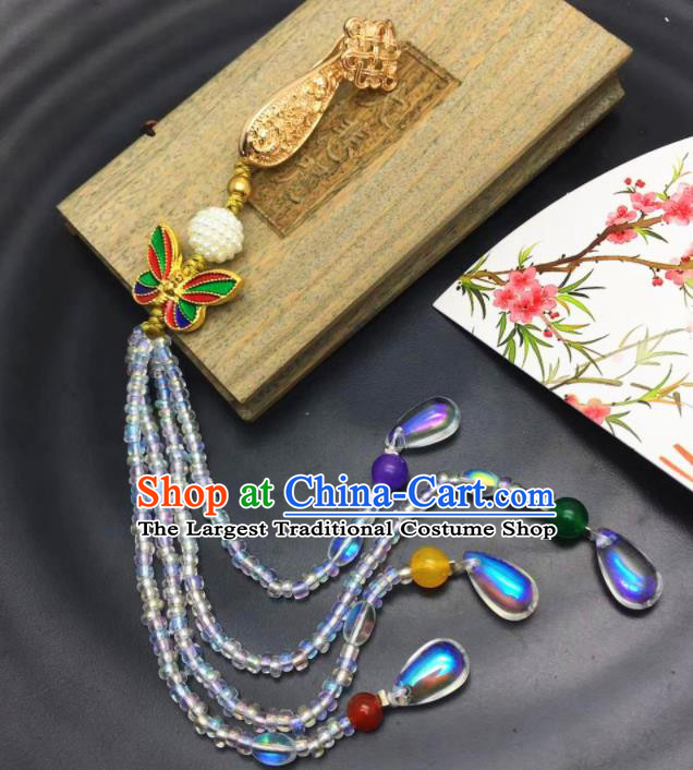 Chinese Traditional Hanfu Butterfly Accessories Ancient Qing Dynasty Imperial Consort Brooch Pendant for Women