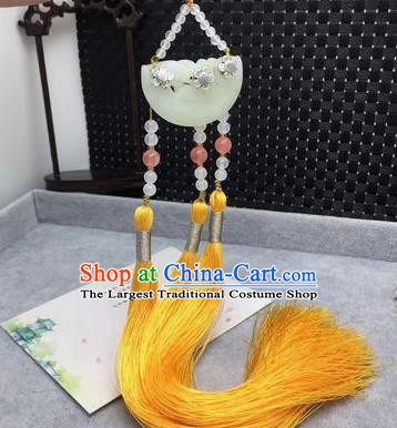 Chinese Traditional Hanfu Yellow Tassel Waist Accessories Ancient Qing Dynasty Imperial Consort Brooch Pendant for Women