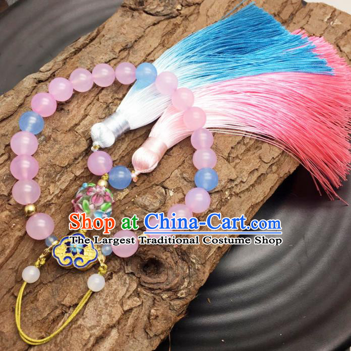 Chinese Traditional Hanfu Pink Beads Tassel Accessories Ancient Qing Dynasty Imperial Consort Brooch Pendant for Women