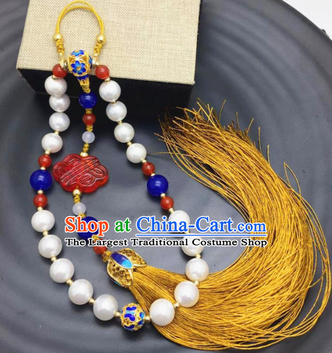 Chinese Traditional Hanfu Tassel Blueing Breastpin Accessories Ancient Qing Dynasty Imperial Consort Brooch Pendant for Women
