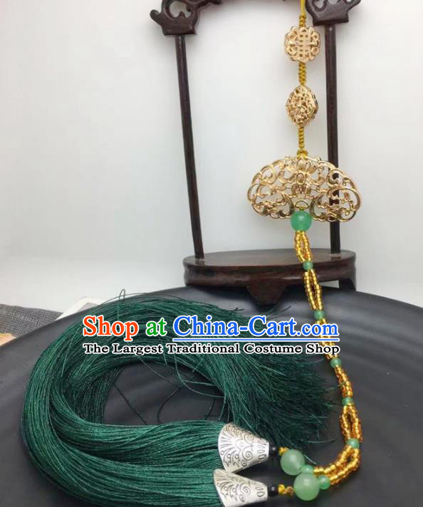 Chinese Traditional Hanfu Tassel Golden Breastpin Accessories Ancient Qing Dynasty Imperial Consort Brooch Pendant for Women
