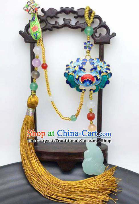 Chinese Traditional Hanfu Court Cloisonne Breastpin Accessories Ancient Qing Dynasty Imperial Consort Brooch Pendant for Women