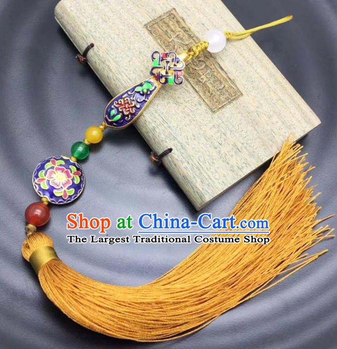 Chinese Traditional Hanfu Blueing Breastpin Court Accessories Ancient Qing Dynasty Imperial Consort Brooch Pendant for Women
