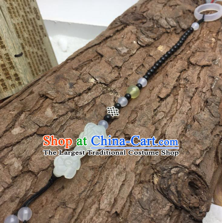 Chinese Traditional Hanfu Court Jade Accessories Ancient Qing Dynasty Imperial Consort Brooch Pendant for Women