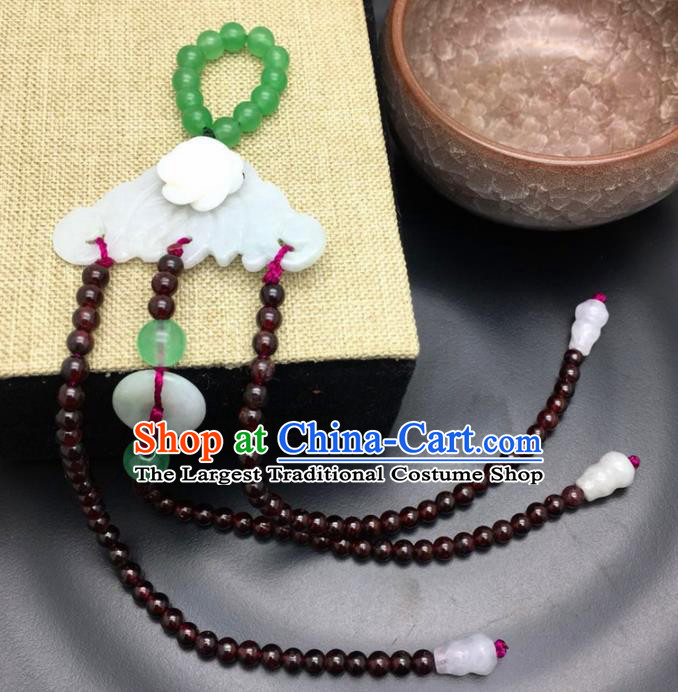 Chinese Ancient Qing Dynasty Imperial Consort Garnet Brooch Pendant Traditional Hanfu Court Accessories for Women