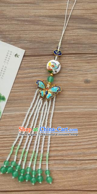 Chinese Qing Dynasty Cloisonne Butterfly Tassel Brooch Pendant Traditional Hanfu Ancient Imperial Consort Accessories for Women
