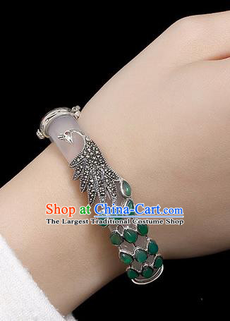 Chinese Traditional Hanfu Jewelry Accessories Jade Bracelet Ancient Qing Dynasty Princess Bangle for Women
