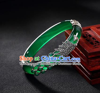 Chinese Traditional Hanfu Jewelry Accessories Jadeite Bracelet Ancient Qing Dynasty Princess Bangle for Women