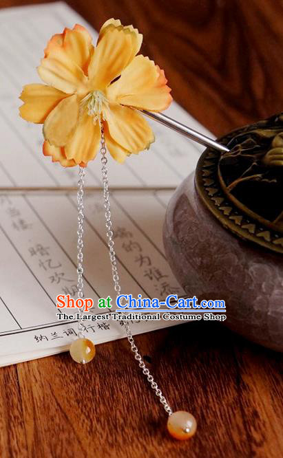 Chinese Ancient Song Dynasty Princess Yellow Peach Flower Hairpins Traditional Hanfu Court Hair Accessories for Women