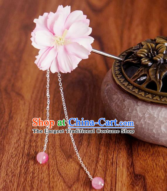 Chinese Ancient Song Dynasty Princess Pink Peach Flower Hairpins Traditional Hanfu Court Hair Accessories for Women