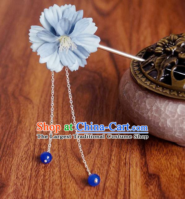 Chinese Ancient Song Dynasty Princess Blue Peach Flower Hairpins Traditional Hanfu Court Hair Accessories for Women