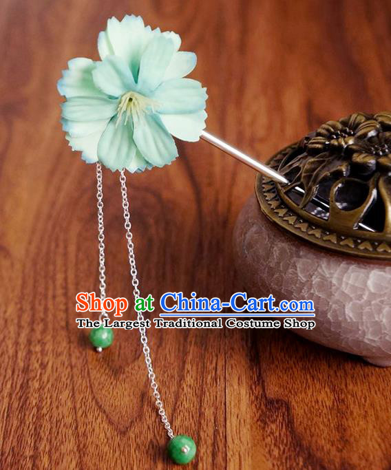 Chinese Ancient Song Dynasty Princess Green Peach Flower Hairpins Traditional Hanfu Court Hair Accessories for Women