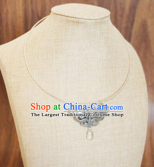 Chinese Traditional Hanfu Jewelry Accessories Ancient Ming Dynasty Princess Grey Jade Necklace for Women