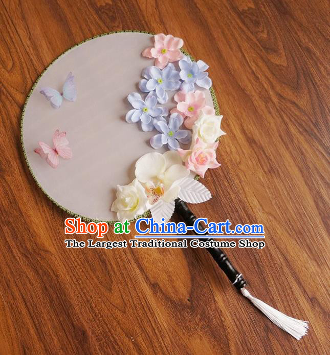 Chinese Traditional Hanfu Handmade Palace Fans Ancient Princess Silk Round Fan for Women