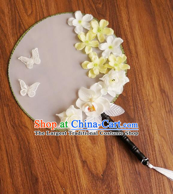 Chinese Traditional Hanfu Handmade Yellow Flowers Palace Fans Ancient Princess Silk Round Fan for Women