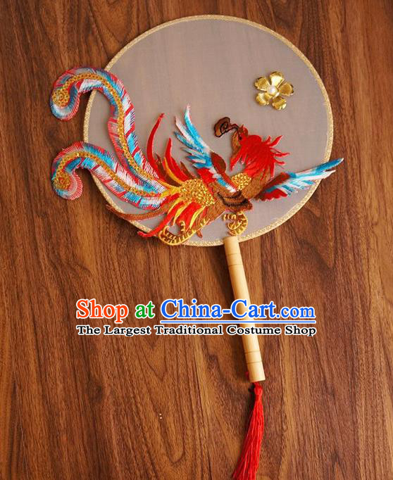 Chinese Traditional Hanfu Handmade Colorful Phoenix Palace Fans Ancient Princess Silk Round Fan for Women