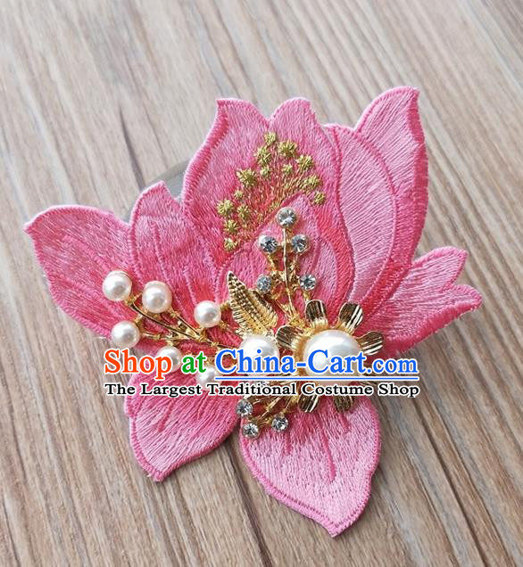 Chinese Traditional Hanfu Embroidered Peach Pink Magnolia Brooch Pendant Ancient Cheongsam Breastpin Accessories for Women