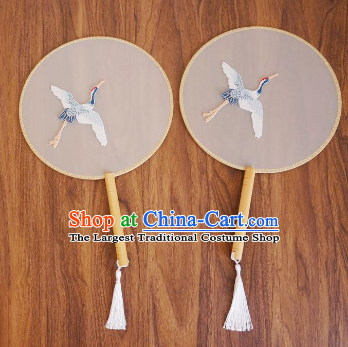 Chinese Traditional Hanfu Palace Fans Ancient Princess Embroidered Crane Silk Round Fan for Women