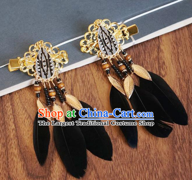 Chinese Ancient Princess Black Feather Hair Claws Hairpins Traditional Hanfu Court Hair Accessories for Women