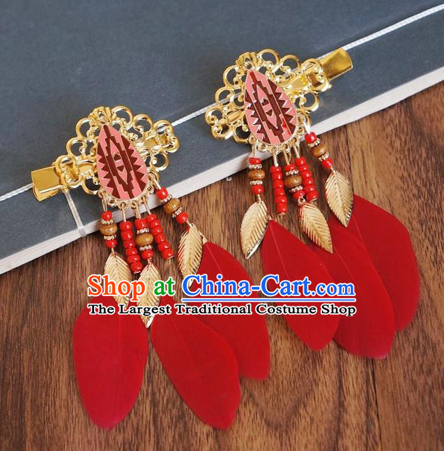 Chinese Ancient Princess Red Feather Hair Claws Hairpins Traditional Hanfu Court Hair Accessories for Women