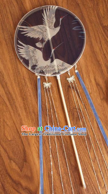 Chinese Traditional Hanfu Blue Ribbon Palace Fans Ancient Princess Silk Round Fan for Women