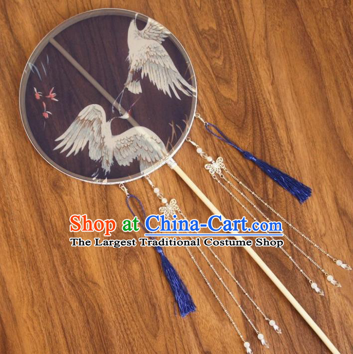 Chinese Traditional Hanfu Blue Tassel Palace Fans Ancient Princess Silk Round Fan for Women
