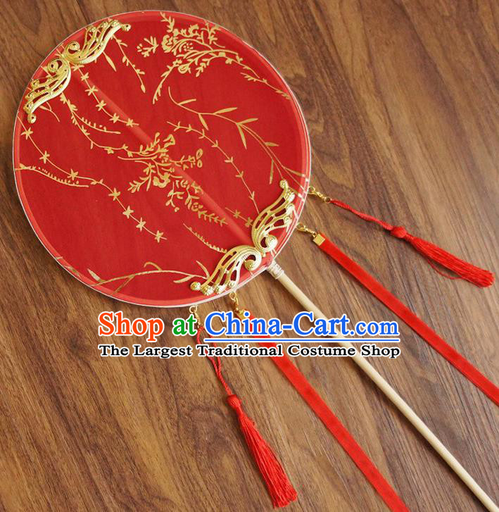 Chinese Traditional Hanfu Wedding Red Palace Fans Ancient Princess Silk Round Fan for Women