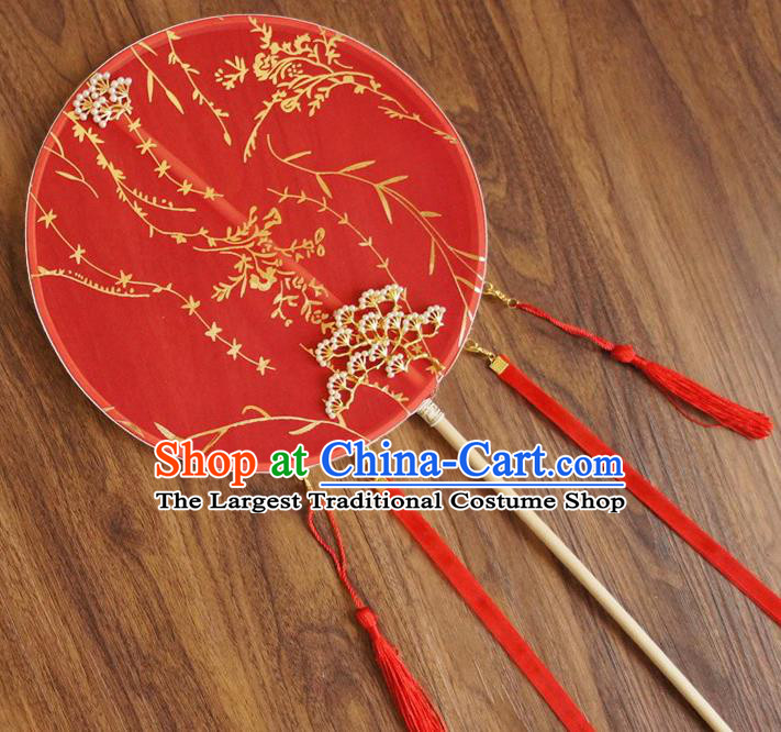 Chinese Traditional Hanfu Wedding Red Pine Palace Fans Ancient Princess Silk Round Fan for Women