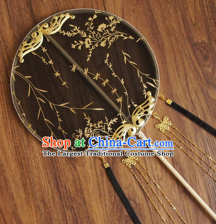 Chinese Traditional Hanfu Butterfly Tassel Black Palace Fans Ancient Princess Silk Round Fan for Women