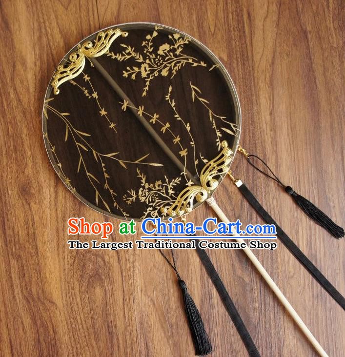 Chinese Traditional Hanfu Ribbon Tassel Black Palace Fans Ancient Princess Silk Round Fan for Women
