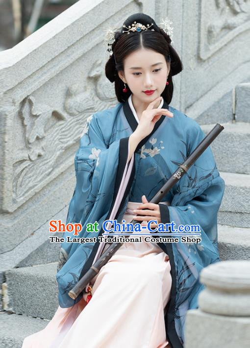 Traditional Chinese Jin Dynasty Imperial Consort Replica Costumes Ancient Court Princess Blue Hanfu Dress for Women