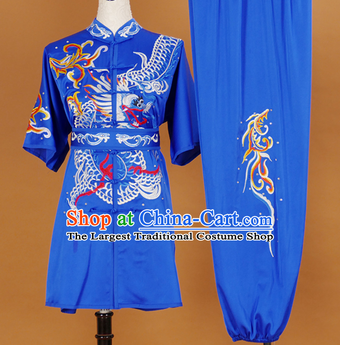 Blue Short Sleeves Martial Arts Suit Kung Fu Dress Wushu Suits Stage Performance Competition Full Set