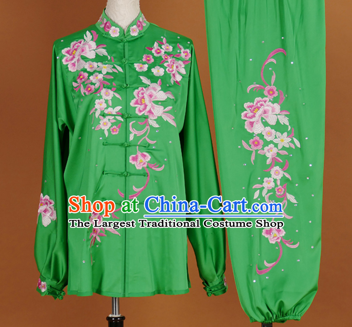 Top Embroidered Green Flower Long Sleeves Tai Chi Suits Martial Arts Clothing Kung Fu Dress Wushu Suits Stage Performance Championship Competition Full Set