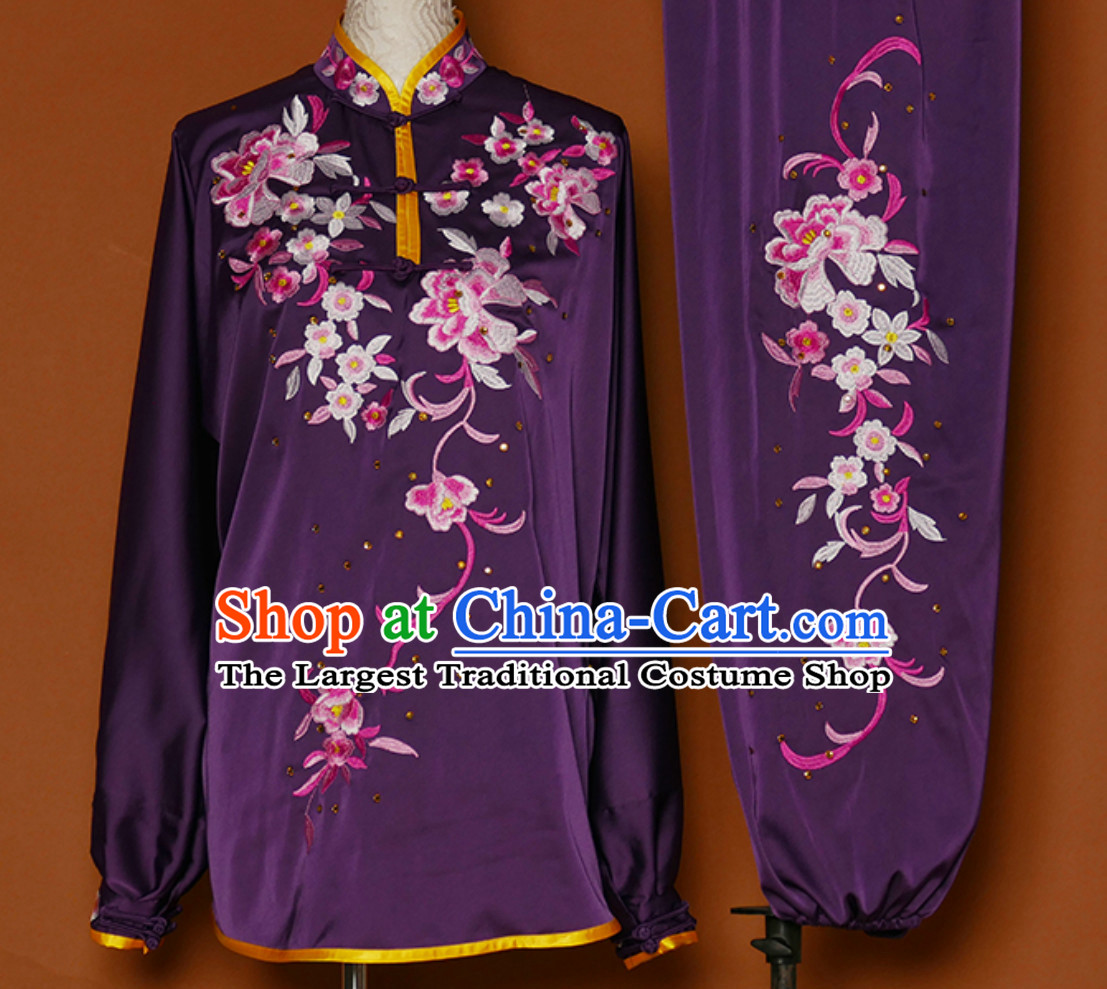 Purple Asian Embroidered Long Sleeves Martial Arts Clothing Kung Fu Dress Wushu Suits Stage Performance Championship Competition Full Set for Girls Women