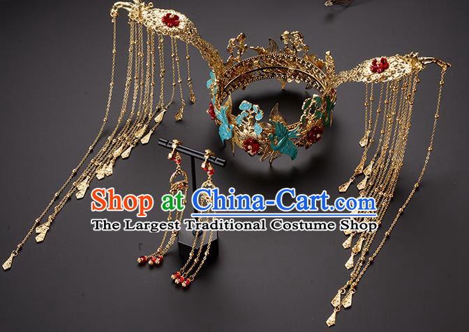 Chinese Ancient Tang Dynasty Princess Cloisonne Phoenix Coronet Hairpins Traditional Hanfu Court Hair Accessories for Women