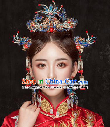Chinese Ancient Qing Dynasty Cloisonne Phoenix Coronet Hairpins Traditional Hanfu Court Princess Hair Accessories for Women