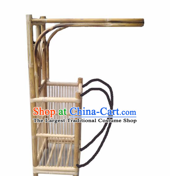 Chinese Traditional Handmade Bamboo Ware Ancient Drama Scholar Bamboo Weaving Pack Basket