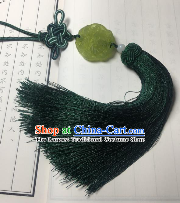 Traditional Chinese Hanfu Jade Carving Waist Accessories Ancient Swordsman Atrovirens Tassel Pendant