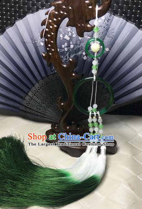 Traditional Chinese Hanfu Green Jade Ring Waist Accessories Ancient Swordsman Tassel Pendant